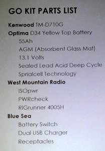 Go Kit Parts List 2016
